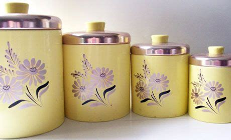fashioned kitchen canisters vintage glass sets pink white green these