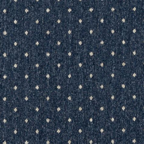 Country Upholstery Fabric by Navy Blue And Beige Dotted Country Upholstery Fabric By
