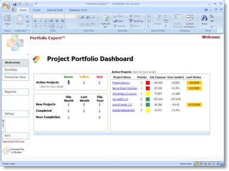 portfolio management dashboard templates microsoft access dashboard for project portfolio