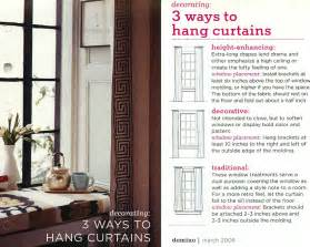 Properly Hang Curtains Decorating 3 Ways To Hang Curtains Traditional Height Enhancing Or Traditional Window Treatment Drapes