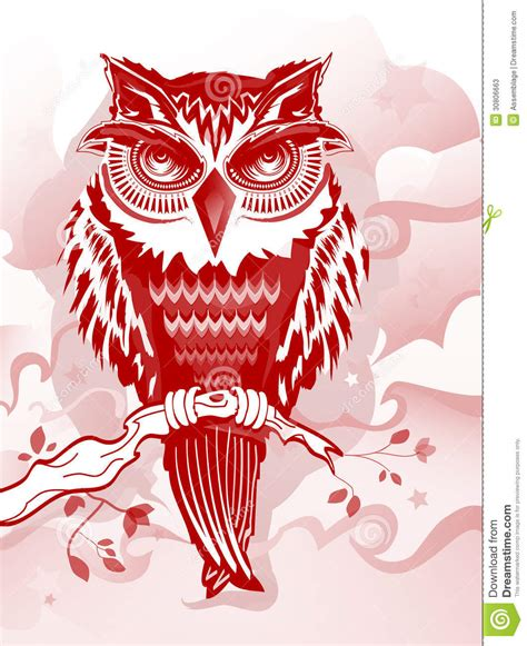 red owl illustration for flyers books and more stock