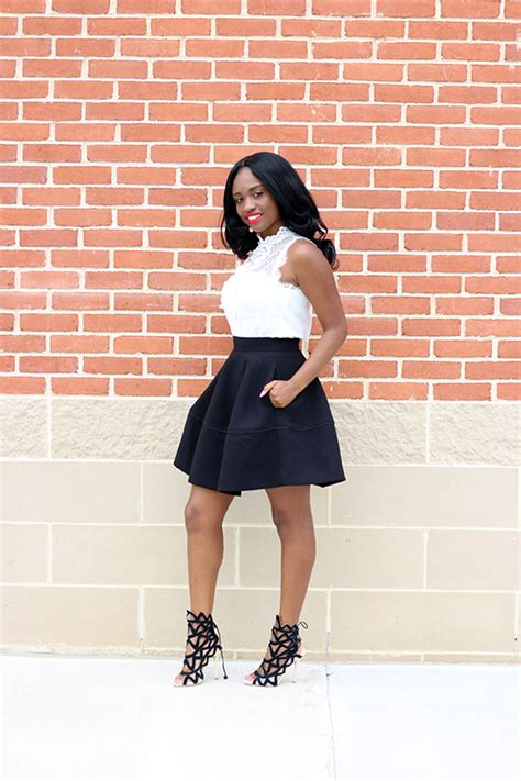 Top Flare Skirt lace top and flare skirt prissysavvy