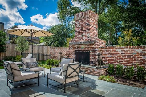 houston brick outdoor fireplace patio traditional with