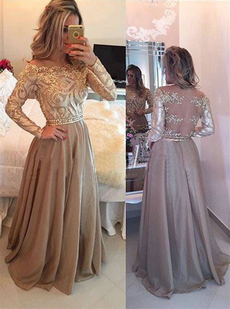 Bigsize Gamis Hoodie Schiffon 142 a line crew floor length sleeves gold chiffon prom