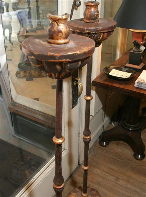wrought iron and wood floor candle stands at 1stdibs