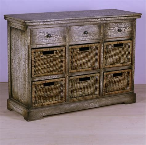 Drawer Basket Storage by Three Drawer Storage With Six Basket Nadeau Baton