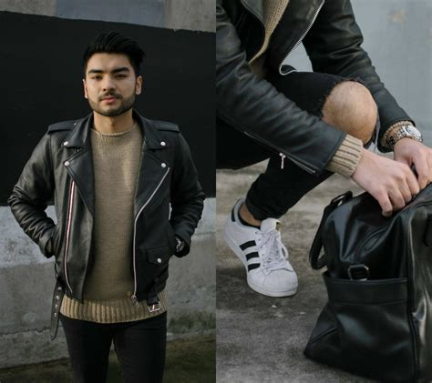 Outwear Zara Original danny barnett asos leather jacket zara knitted jumper adidas original superstar trainers