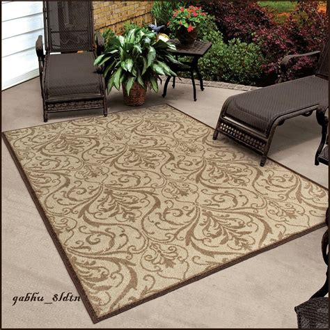 outdoor area rugs 8x10 indoor outdoor scroll area rug carpet large mat brown