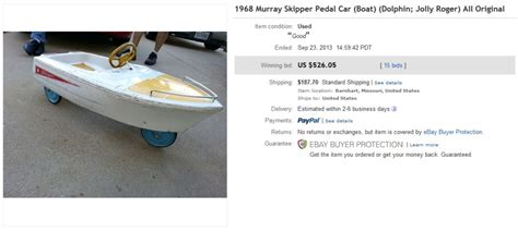 pedal car boat for sale 1968 skipper jolly roger pedal car boat sold for 526 on