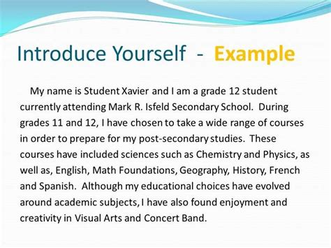 Introduce Yourself Essay by How To Get Introduce Yourself Essay Sle News