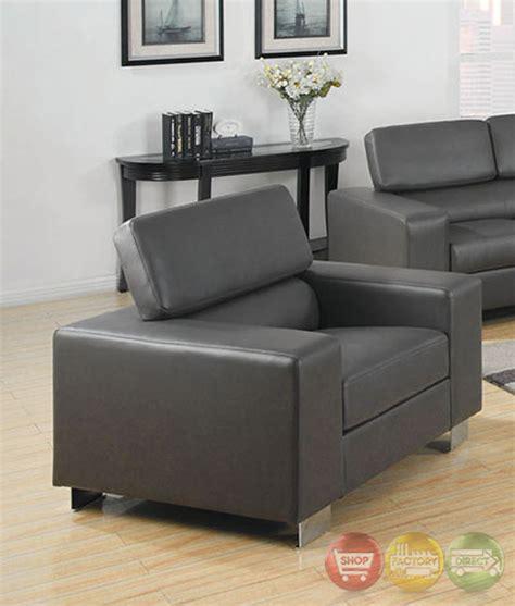 Makri Contemporary Gray Living Room Set With Bonded | makri contemporary gray living room set with bonded