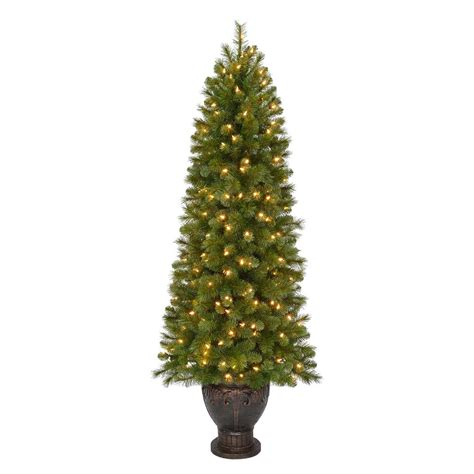 tree in lighted pot home accents 4 5 ft pre lit potted artificial tree with drum pot and clear