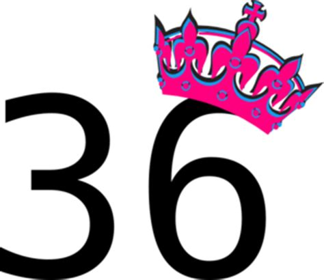 Pink tilted tiara and number 36 clip art at clker com vector clip art online royalty free