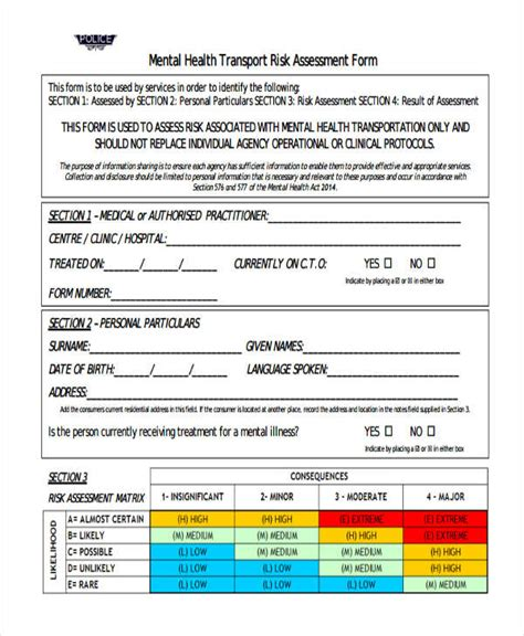 Healthcare Risk Assessment Template 19 Free Risk Assessment Forms Free Premium Templates