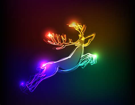 christmas light effect elk vector free vector graphic