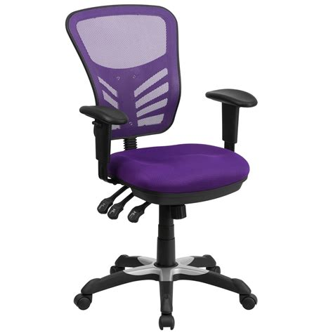 Mid Back Purple Mesh Swivel Task Chair With Triple Paddle Purple Desk Chair