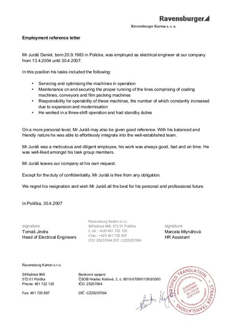 Recommendation Letter From Employer Engineering Ravensburger Electrical Engineer