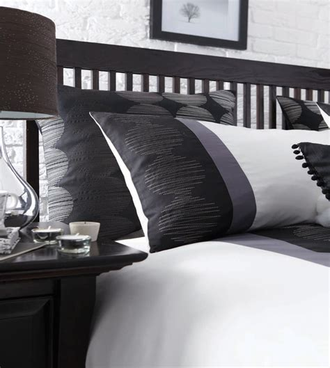 black and grey bedroom curtains black white pewter grey striped bed linen duvet cover