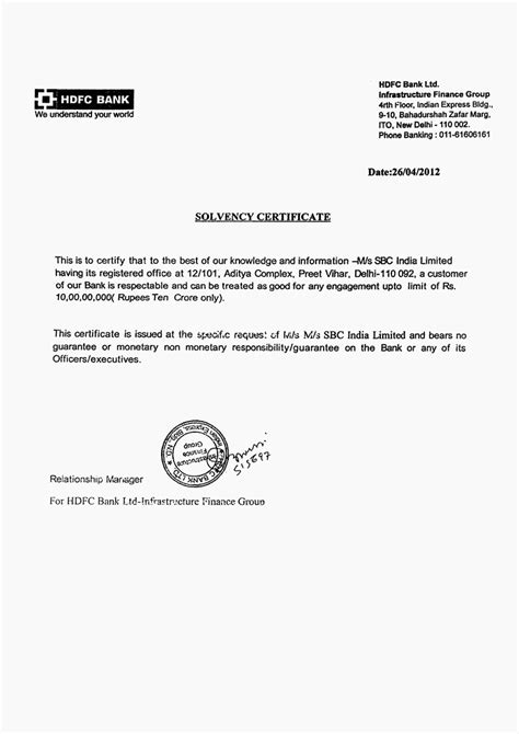bank certification letter template sle of bank solvency certificate image collections