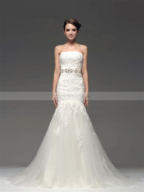 strapless tulle mermaid bridal gown with rhinestone sash