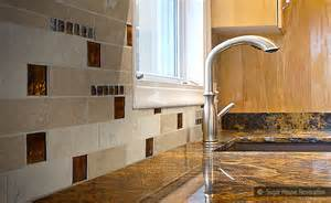 brown glass travertine tile backsplash idea backsplash