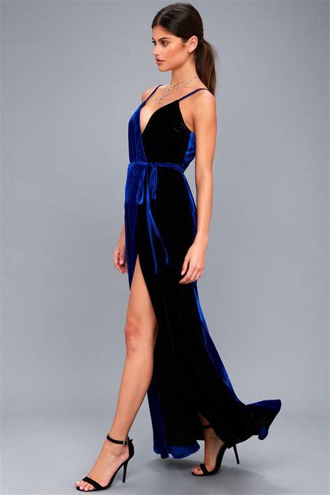 Maxi Prissia Velvet Blue glamorous royal blue maxi dress velvet maxi dress