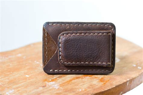 Handmade Leather Money Clip Wallet - handmade leather wallet magnetic money clip brown leather