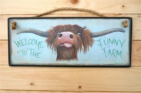 highland scottish  wooden sign    funny