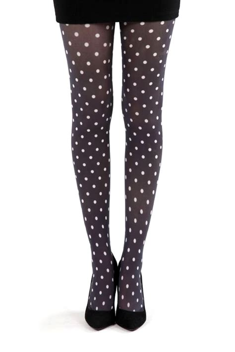 polka dot b tights black white