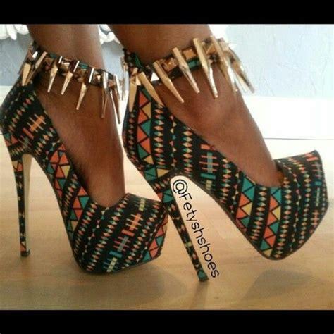 pattern colorful heels shoes heels high heels tribal pattern platform high