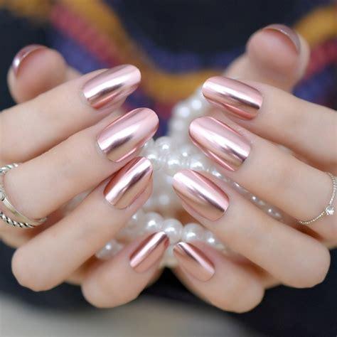 metallic mirror false nails fashion pink acrylic nails