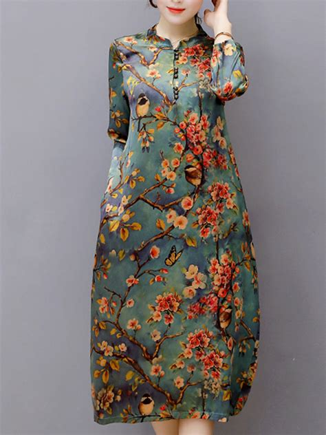 Floral Print Stand Collar Dress vintage floral printed sleeve stand collar midi