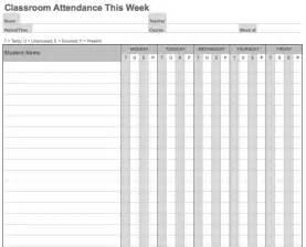 weekly attendance sheet template attendance free printable calendar template 2016