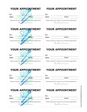 Printable Dental Office Treatment Reminder Cards Dental Appointment Reminder Templates