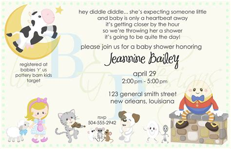 Nursery Rhymes Baby Shower by Nursery Rhymes Invitations Baby Shower Ideas