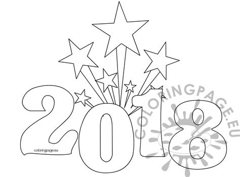 new year 2018 color printable new years coloring page 2018 coloring page