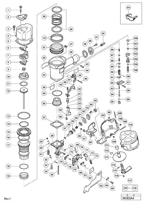 hitachi nail gun parts diagram hitachi nv83a4 parts coil nailer