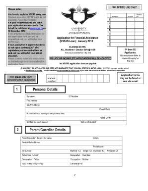 Uj Nsfas Online Application Fill Online Printable