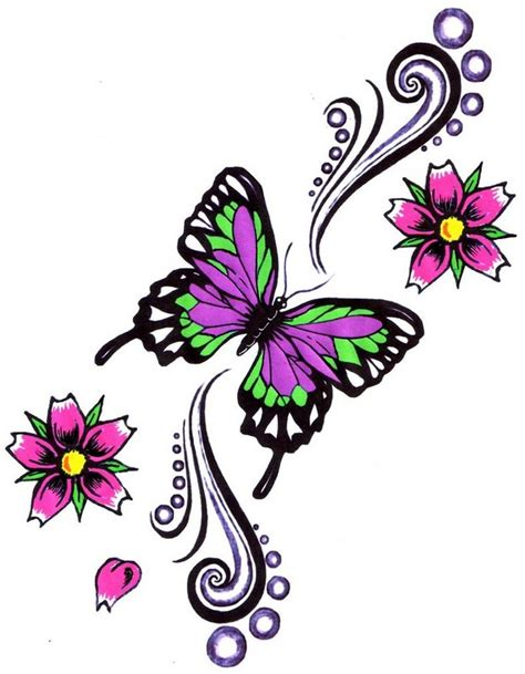 design flowers images lovely butterfly with flowers tattoo design