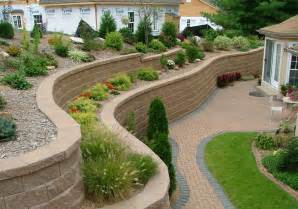 Retaining Wall Ideas For Backyard Outstanding Fresh Grass Side Brick Floor Right For Retaining Wall Ideas With Flowers On