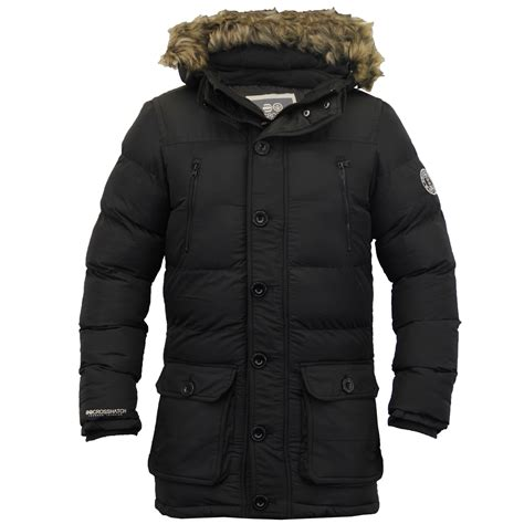 Mens Quilted Parka by Mens Parka Jacket Crosshatch Coat Hooded Padded Quilted