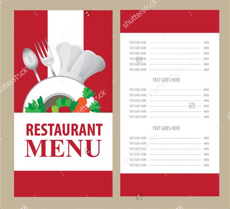 restaurant menu card templates menu card templates 50 free word psd pdf eps
