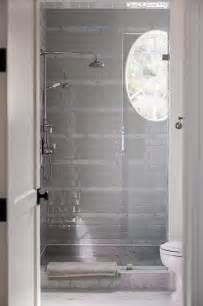 gray subway shower tiles design ideas