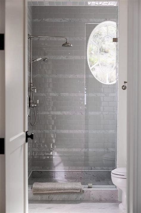 white subway tile walk in shower gray subway shower tiles design ideas