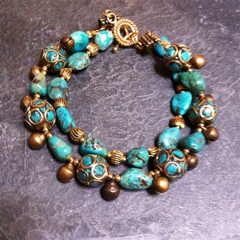bead stores minneapolis rox turquoise and brass bead bracelet