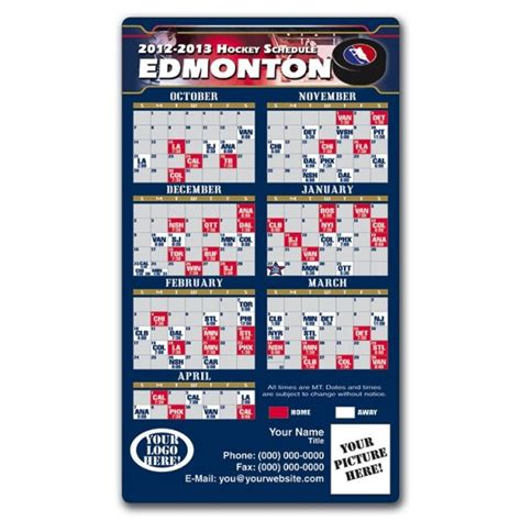 printable oilers schedule edmonton oilers hockey schedule magnets 4 quot x 7 quot custom