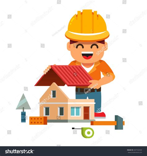 builder home young smiling house builder hardhat building stock vector