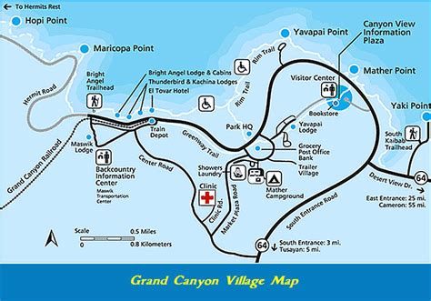 grand lodging map south area maps grandcanyoncvb org