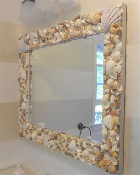 outstanding beachy bathroom diy shell mirror shell repeat crafter me seashell crafts oooooohhh could put