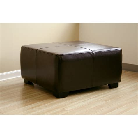 brown leather square ottoman brown leather square ottoman footstool see white